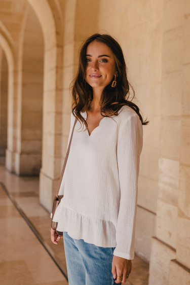 BLOUSE SULLY BLANC COTON