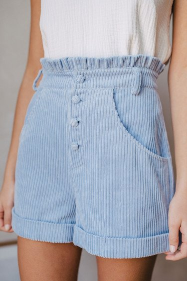SHORT GASTON VELOURS BLEU