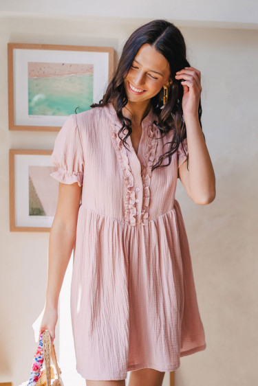 ROBE NOOR BLUSH COTON