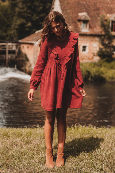 ROBE CARRIE GRENAT COTON